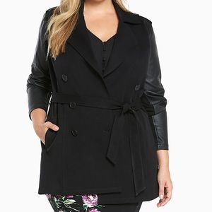 TORRID Black Faux Leather Sleeves Trench Coat, 00
